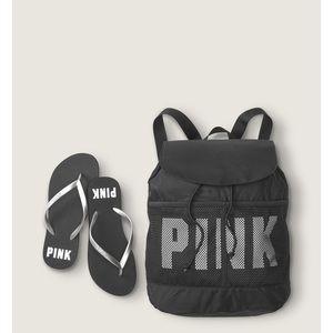 New! Pink Backpack and Flip Flop Set